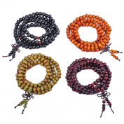 4 Pcs Buddha Meditation 108 Wood Beads Buddhist Prayer Mala Beads Bowknot Buddhist Bracelet Necklace Elastic