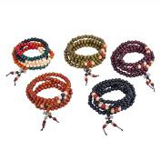5 Pcs Buddha Meditation 108 Wood Beads Buddhist Prayer Mala Beads King Kong Knot Buddhist Bracelet Necklace