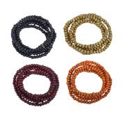 """4 Pcs Buddha Meditation 216 Wood Beads Buddhist Prayer Mala Beads Buddhist Bracelet Necklace with Chinese """"Buddha"""""""