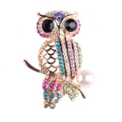 Qinlee Woman Brooches Crystal Owl Elegant Brooch Pins Brooches For Wedding Party Christmas Xmas Décor