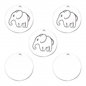 5PCS Elephant Round Tag Animal Charms Pendants DIY for Jewellery Making and Crafting 20mm