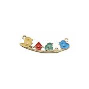 JulieWang 15pcs Enamel Bird House on Swing Charm Pendant for Jewellery Making 43x14mm