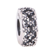 Everbling Clear CZ Grid 925 Sterling Silver Charm Beads Fits Pandora European Charms Bracelet