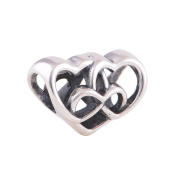 Everbling Heart 925 Sterling Silver Charm Beads Fits Pandora European Charms Bracelete