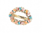 Kingken Multi-Butterflies Shaped Cat's Eye Gemstone Rhinestone Hair Barrette Clip for Women