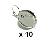10 x 12 mm Cabochon Leverback earrings Silver