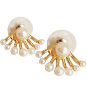 Women Silver Sector Ear Stud Earrings with Crystal Zircon Pearls Ear Piercing Plugs Tunnel Style