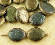 16pcs Metallic Bronze Green Valentinite Rough Rustic Etched Oval Flat Czech Glass Beads 12mm x 10mm