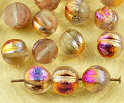 16pcs Crystal Metallic Sliperit Iris Gold Purple Half Rough Rustic Etched Frosted Round Melon Halloween Pumpkin Fruit Czech Glass Beads 8mm
