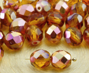 20pcs Crystal Yellow Topaz Metallic Capri Rose Gold Half Round Faceted Fire Polished Spacer Czech Glass Beads 8mm