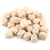 30 Pcs/Lot Natural Geometric Figure Wooden Beads Faceted Cube for DIY Craft Necklace Bracelet Making