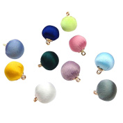 10x Milopon Round Beads Fabric Pendant for Craft Bracelets Earring Jewellery Making Mixed Colour