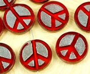 4pcs Crystal Ruby Red Hematite Silver Peace Sign Love Tree Of Life Charm Pendant Coin Flat Round Table Cut Window Czech Glass Beads 15mm 2