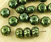8pcs Metallic Green Lustre Squashed Melon Halloween Pumpkin Fruit Czech Glass Beads 11mm x 8mm