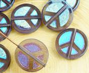 4pcs Crystal Purple Dark Indigo Ab Full Peace Sign Love Tree Of Life Charm Pendant Coin Flat Round Table Cut Window Czech Glass Beads 15mm