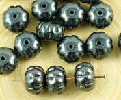 8pcs Metallic Opaque Jet Black Silver Hematite Lustre Squashed Melon Halloween Pumpkin Fruit Czech Glass Beads 11mm x 8mm