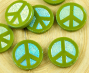 4pcs Olive Green Ab Full Peace Sign Love Tree Of Life Charm Pendant Coin Flat Round Table Cut Window Czech Glass Beads 15mm