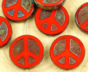 4pcs Picasso Brown Coral Red Opaque Peace Sign Love Tree Of Life Charm Pendant Coin Flat Round Table Cut Window Czech Glass Beads 15mm