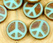 4pcs Picasso Brown Opaque Light Turquoise Blue Peace Sign Love Tree Of Life Charm Pendant Coin Flat Round Table Cut Window Czech Glass Beads