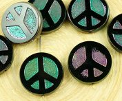 4pcs Opaque Jet Black Ab Apricot Lustre Peace Sign Love Tree Of Life Charm Pendant Coin Flat Round Table Cut Window Czech Glass Beads 15mm