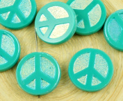 4pcs Turquoise Green Ab Full Peace Sign Love Tree Of Life Charm Pendant Coin Flat Round Table Cut Window Czech Glass Beads 15mm