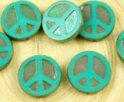 4pcs Turquoise Green Apricot Ab Lustre Peace Sign Love Tree Of Life Charm Pendant Coin Flat Round Table Cut Window Czech Glass Beads 15mm