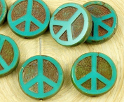 4pcs Picasso Dark Brown Opaque Turquoise Green Peace Sign Love Tree Of Life Charm Pendant Coin Flat Round Table Cut Window Czech Glass Beads