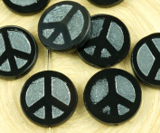 4pcs Opaque Jet Black Hematite Silver Peace Sign Love Tree Of Life Charm Pendant Coin Flat Round Table Cut Window Czech Glass Beads 15