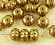 8pcs Metallic Purple Gold Lustre Squashed Melon Halloween Pumpkin Fruit Czech Glass Beads 11mm x 8mm