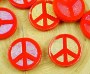 4pcs Opaque Coraline Coral Red Ab Full Peace Sign Love Tree Of Life Charm Pendant Coin Flat Round Table Cut Window Czech Glass Beads 15mm