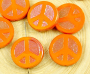 4pcs Hyacinth Orange Apricot Ab Lustre Peace Sign Love Tree Of Life Charm Pendant Coin Flat Round Table Cut Window Czech Glass Beads 15mm