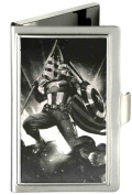 Buckle-Down BCH-SM-CAQ Business Card Holder - SMALL - Captain America Pose w/Flag Brushed Silver