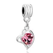 RUBYCA 5Pcs Heart Dangle Pendant Charm Beads Crystal Rhinestone European Bracelet Rose Pink Gold
