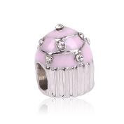 Pink Enamel Crystals Cake Silver Plated Charm For Charm Bracelets Womens Girls Jewellery Big Hole Charm