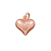 Puffed Heart Charm With Bail Rose Gold Plated 11x12mm