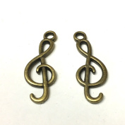 10 x Antique bronze musical note charms
