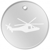 11 x 34mm 'Helicopter Silhouette' Clear Pendants / Charms