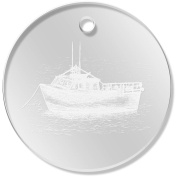 11 x 34mm 'Anchored Boat' Clear Pendants / Charms