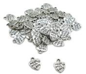 Vasyle Jewellery accessories Tibetan silver retro alloy heart pendant with with love pendant bracelet pendant