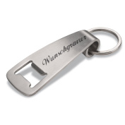 REFLECTS DIDCOT Key fob with metal ring and Bottle Opener in Stainless Steel in Matt Silver Including Engraving