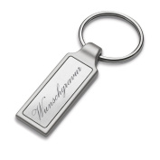 REFLECTS IRUN RECTANGULAR Key Chain with RECTANGULAR glossy silver lining made from metal in Matt Silver Including Engraving