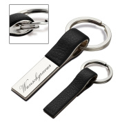 Reflects fairhope key ring made of artificial leather and metal incl. engraving