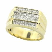 14K Gold Mens Wedding or Fashion Ring 12mm Wide 1.1cttw Princess Cut Diamonds