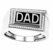 Fathers Day Ring Mens DAD Ring 10K White Gold 0.15cttw Diamonds