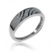 10K White Gold Wedding Band Mens 0.13cttw Diamonds 6mm Wide Pave