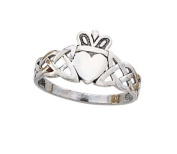 14k White Gold Claddagh Mens Ring - 2.7 Grammes - Size 10.0