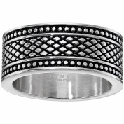 BIG Jewellery co Stainless Steel Pattern Ring with Black Ionic Plating