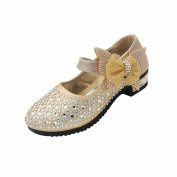 Huhua Baby Girls Dancing Shoes Toddler Buckle Shoes Soild Bowknot Bling Sneaker Party Casual Shoes