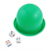 Unique BargainsPub Bar Compact Plastic Dice Cup Toy Green w Dices
