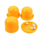 Game Dice Roller Cup Yellow 3 Pcs each w 5 Dices